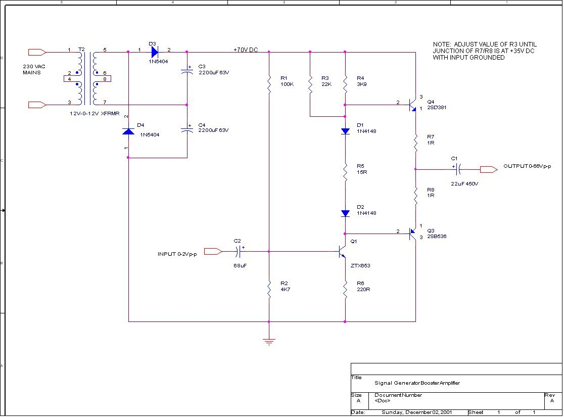 Booster Amplifier Schematic
